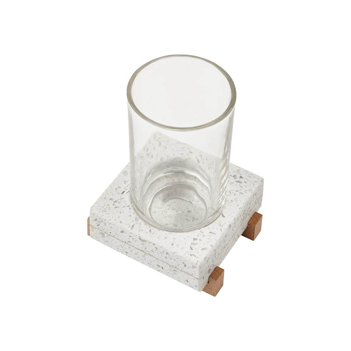 Zahnputzbecher Aquanova Quartz  Materialmix aus Glas, Terrazzo und Holz