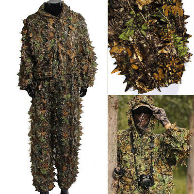 US Ghillie Suit 3D Camouflage Clothing Woodland Jungle Leaf Military Hunting Set](Jungle Leaf)