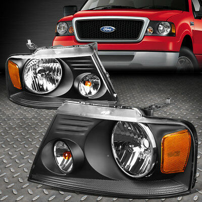 FOR 2004 2008 FORD F150 PICKUP PAIR BLACK HOUSING AMBER SIDE HEADLIGHTLAMP SET