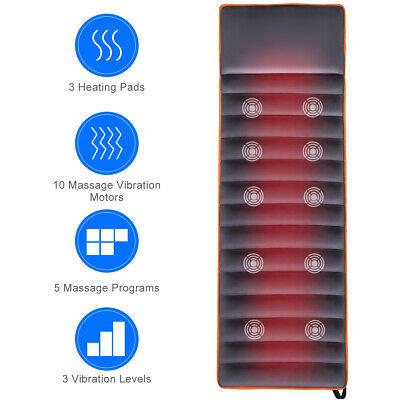 Home& Office Massage Mat Full Body Massage 10 Vibrating Motors Heating (10 Motor Massage Mat)