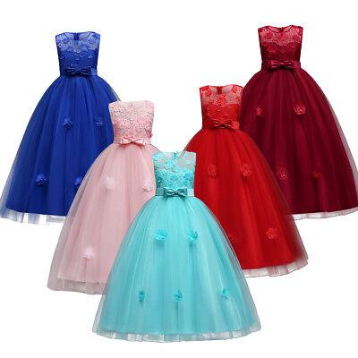 Blumenmädchen Kleid Kinder Prinzessin Lang Partykleid Abendkleid Festkleid Ball