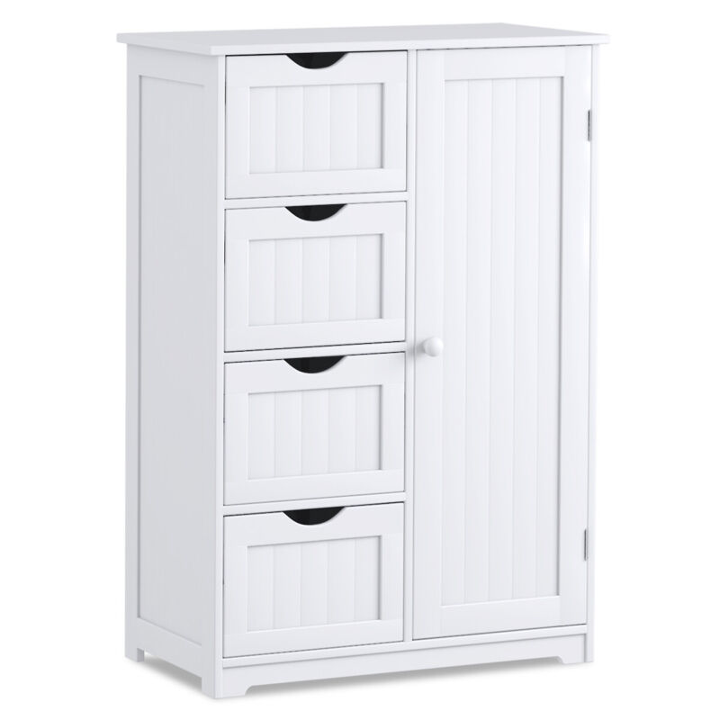 Wooden Bathroom Floor Cabinet Free Standing Storage Cupboard w/4 Drawers White