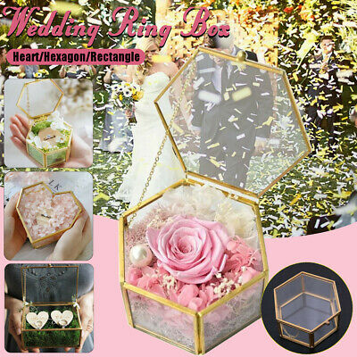 Geometric Transparent Glass Jewelry Flower Wedding Ring Box Engagement Ornaments