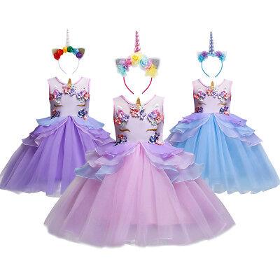 Einhorn Kostüm Tütü Kleid mit Stirnband für Kinder Mädchen Geburtstag Party Ball