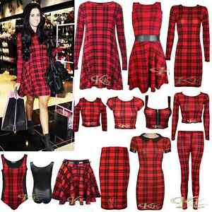 NEW-WOMEN-STYLISH-RED-BLACK-TARTAN-PRINT-SWING-TUNIC-CROP-TOP-SKIRTS-SIZE-8-26