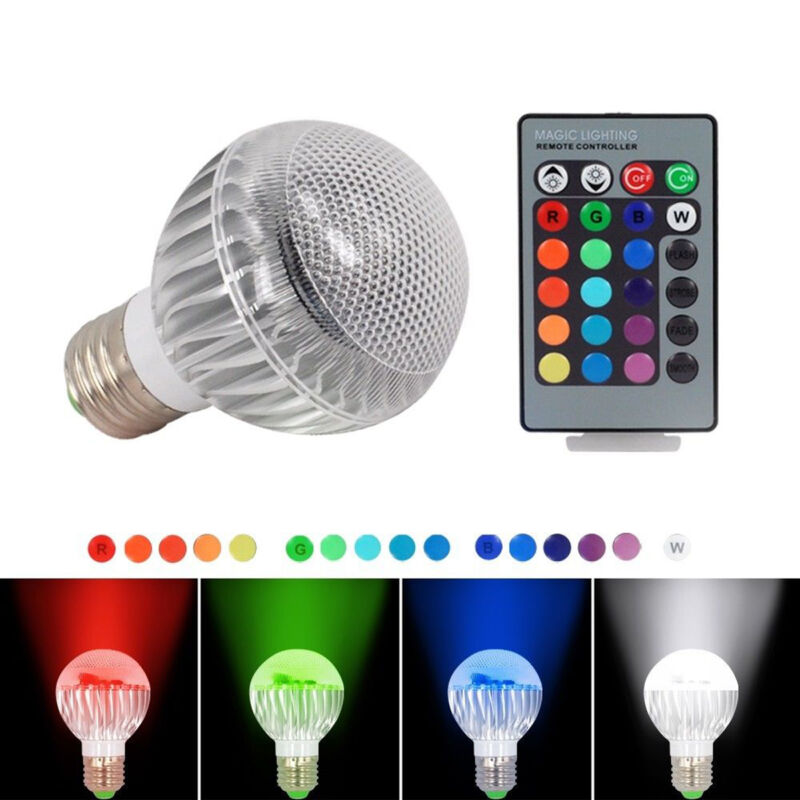 e27 9w rgb bunte led birne 16 farbwechsel lampe licht mit 24 key fernbedienung ebay. Black Bedroom Furniture Sets. Home Design Ideas
