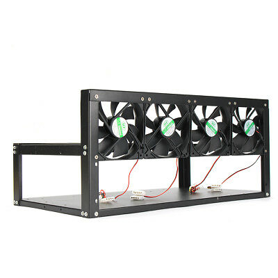 6 GPU Mining Rig Steel Stackable Case + 4 Fans Open Air Frame ETH ZEC Bitcoin