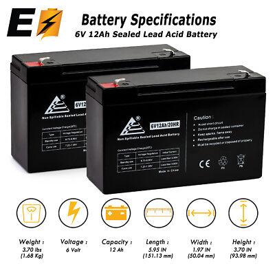COMBO OF 2 6V 12Ah 6 Volt 12 amp hour Sealed Lead Acid Battery UB6120