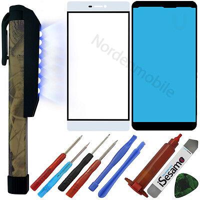 Huawei P8 Display Glas Front LCD Scheibe Weiss + UV LICHT LAMPE + LOCA ()