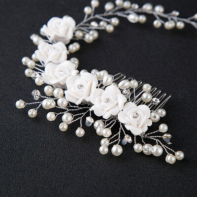 Flower Garland Pearl Headband Wedding Bride Hair Accessories HeadPiece Party H](Flower Headpiece)