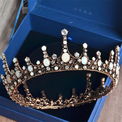 Baroque Bridal Jewelry Vintage Style Crystal Pearl Queen Crown Tiaras Headband