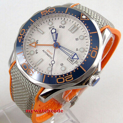 41mm sterile white dial GMT sapphire glass ceramic bezel automatic mens watch