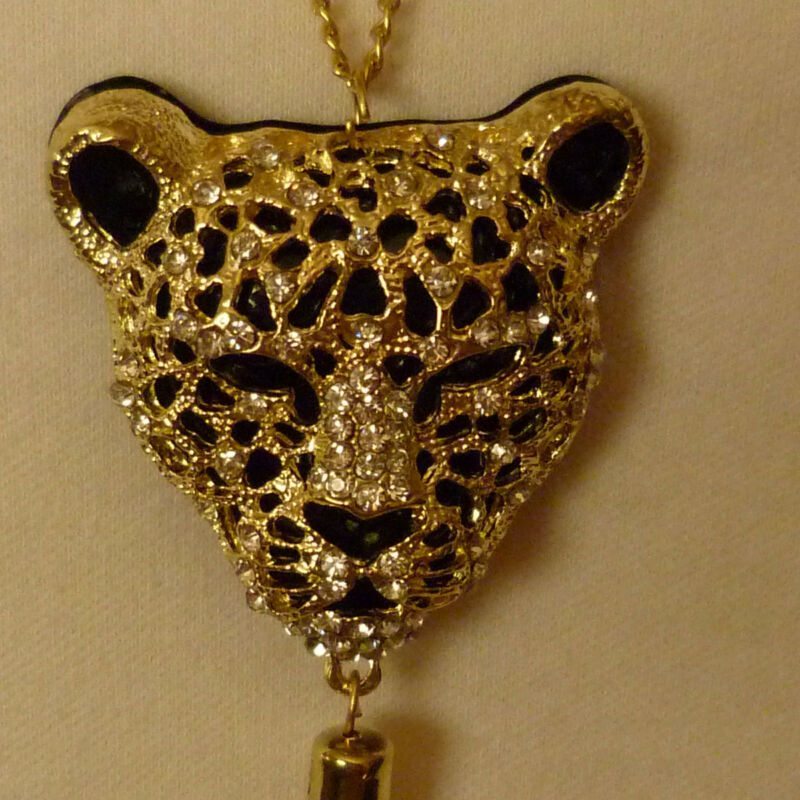 "CLASSY LEOPARD PANTHER TIGER 27"" NECKLACE USING SPARKLY SWAROVSKI ELEMENTS"
