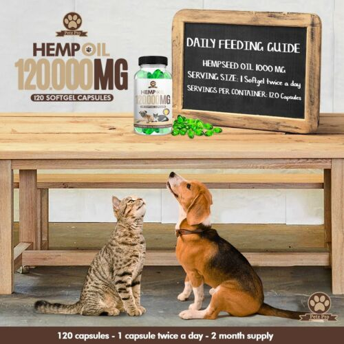 Hemp Seed Oil - 1000mg per 120 Capsule 120000mg/bottle, Rich in Omega 3 6 & 9  1