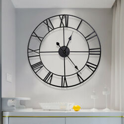 16 Oversized 3D Metal Wall Clock Antique Roman Numerals Giant Open Round Face