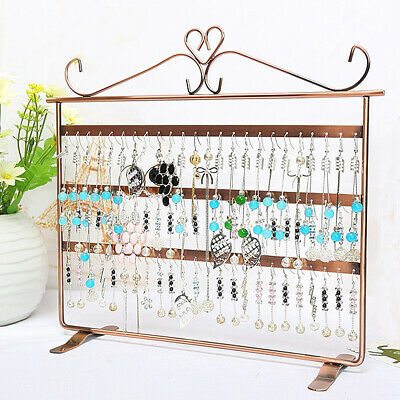 72 Hole Earring Jewelry Necklace Display Rack Metal Stand Holder Organizer