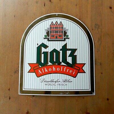 Großes Emaille Schild Gatz Alkoholfrei Düsseldorfer Altbier Werbung 47 x 42 cm