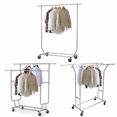 Heavy Duty Singledouble Rail Wheel Adjustable Garment Rack Shelf Clothes Hanger