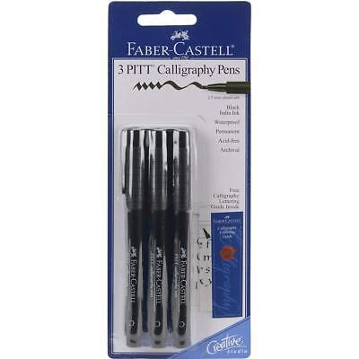 Faber Castell Pitt 2.5mm Chisel Nib Calligraphy Pens, 3 Pack, Black Ink, New