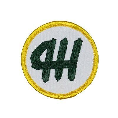 - 4-H Youth Program Badge Patch Farm Club Mentoring Embroidered Iron On Applique