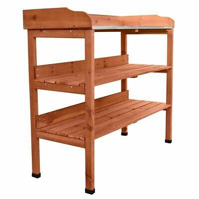 Solid Wood Zinc Potting Bench with 2 Shelves Flower Staging Shelf Table Bench UK