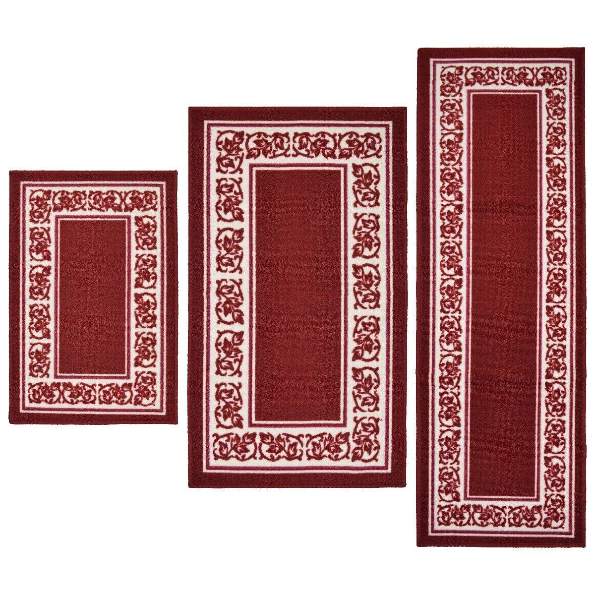 Throw Rugs 3 Piece Set Red Kitchen Bath Bedroom Area Floor M