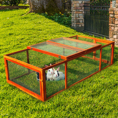 Wooden Rabbit Hutch Chicken Coop House Bunny Pet Backyard Run Small Animal for sale  USA