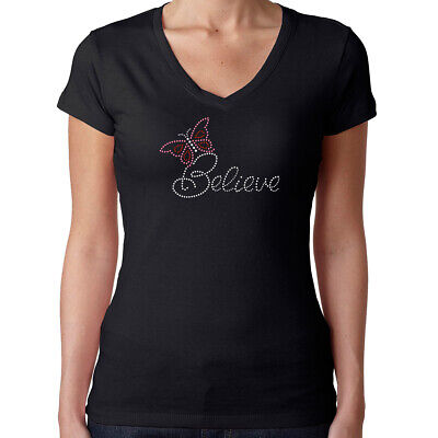 Womens T-Shirt Rhinestone Bling Black Fitted Tee Believe Butterfly Pink Red (Believe Womens Pink T-shirt)