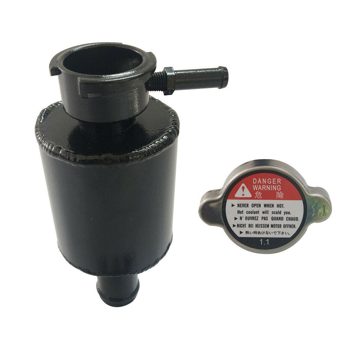 "Universal 5.65/""X2.56/"" Alloy Aluminum Radiator Coolant Expansion Tank  BLACK"