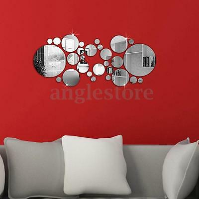 Removable Silver Acrylic 3D Mirror Wall Stickers DIY Home Room Mural Decal Decor