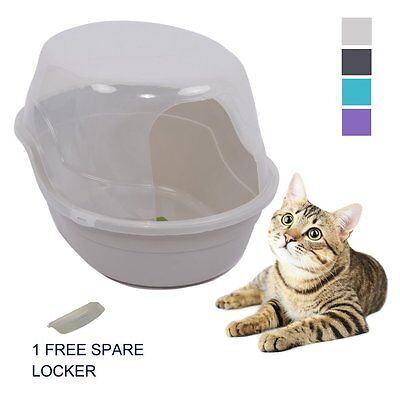 "Favorite 25"" Jumbo Side Entry Hooded Enclosed Covered Cat Litter Box, White"