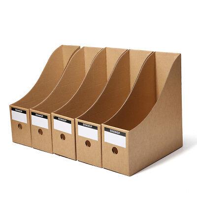 5pcs File Storage Box Folder Book Frame Kraft Paper Table Storage Box for (File Kraft Storage Boxes)