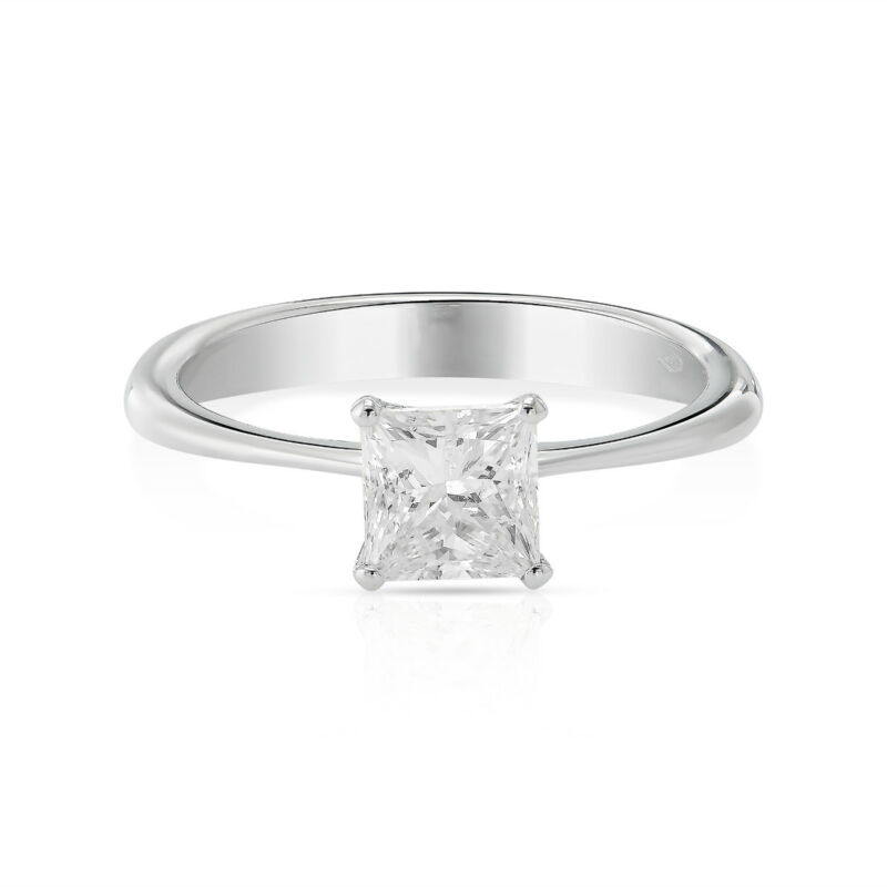 1 Carat Princess Cut D Vs1 Diamond Solitaire Engagement Ring 14k White Gold