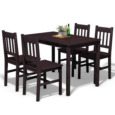 5 Piece Wood Dining Table Set 4 Chairs Home Kitchen Breakfast Furniture -
