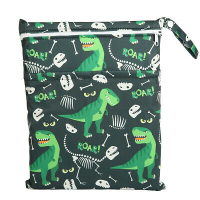 Wet Bag Baby Cloth Diaper Nappy Bag Double Zippers Pocket Dinosaur For Boys