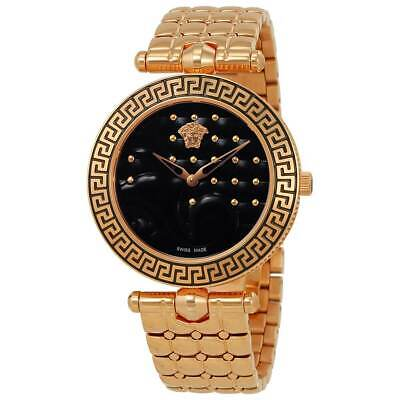 Versace Women's Watch Vanitas Quartz Black Dial Rose Gold Bracelet VK7250015