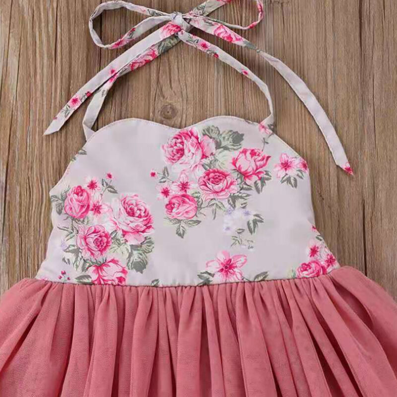 Toddlers Flower Girls Dress Halter Neck Tulle Princess Dress Summer Party Beach