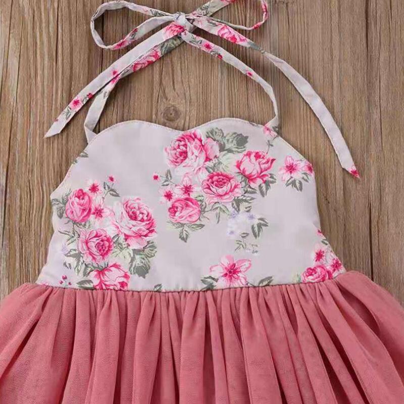 Toddlers Flower Girls Dress Halter Neck Tulle Princess Dress Summer Party Beach