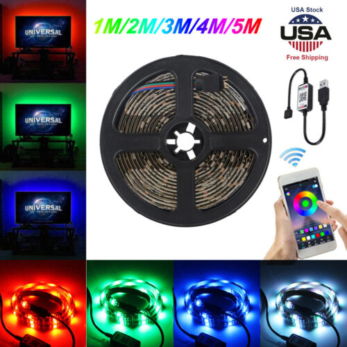 LED Strip Lights USB Bluetooth APP Waterproof RGB Color Chan