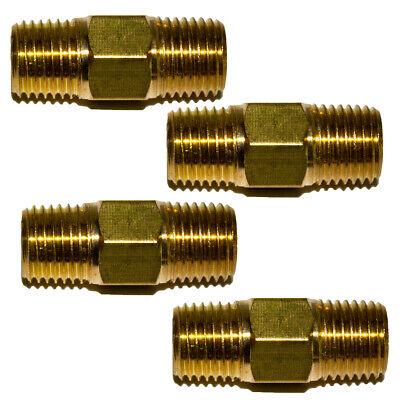 4pcs 14 Npt Brass Hex Nipple 14 Male Npt X 14 Male Npt