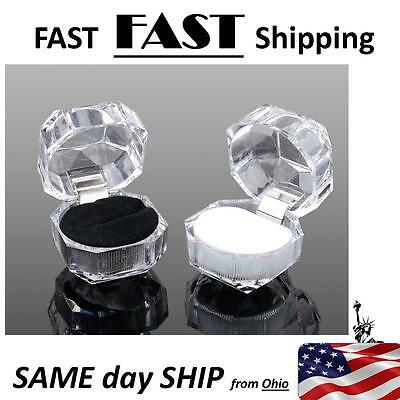 Wholesale Black Crystal Ring Boxes --- 20 Pack --- Fast Shipping From Ohio