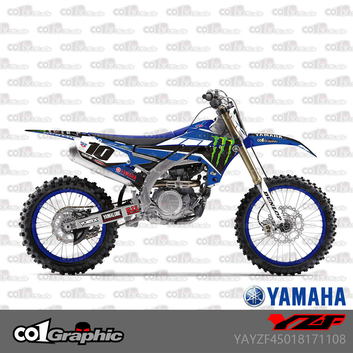 Grafica di sfondo Decal kit Set moto completa di grafica decalcomanie degli autoadesivi kit for Yamaha YZ250 YZ125 1991 1992 125YZ 250 YZ Color : As shown