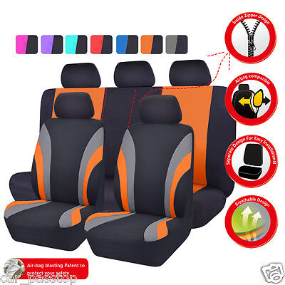 - Universal Car Seat Cover Orange Black Split Rear 60/40 Airbag washable Polyester