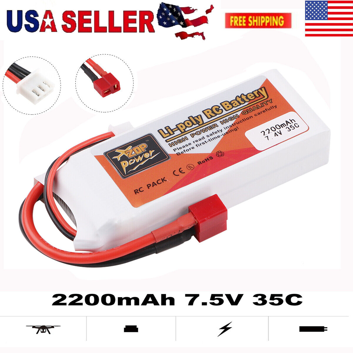 2S LiPo Battery 7.4V 2200mAh T Plug Deans 35C for RC Car Helicopter Airplane Toy
