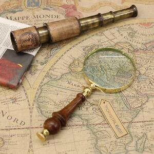 Antique Vintage Magnifying Glass 10cm Brass Wooden Handle Map Nautical Gift