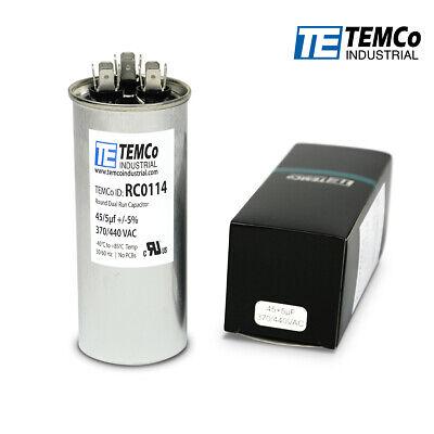 TEMCo 45+5 uf/MFD 370-440 VAC volts Round Dual Run Capacitor 50/60 Hz -Lot-1