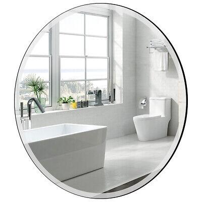 "28"" Round Mirror Wall Mounted Bathroom Mirror Beveled Silver"