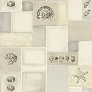 Cream beige grey seashells kitchen vinyl wallpaper rasch for Beige kitchen wallpaper