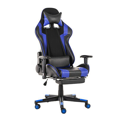 180 Lying Computer Gaming Chair Racing High Back Recliner Executive Footrest Us