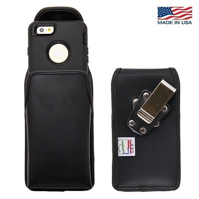 Turtleback iPhone 6 Vertical Leather Pouch Holster Metal Clip Fit Lifeproof Case
